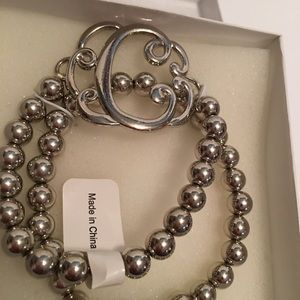 New silver tone Beaded Bracelet with initial C